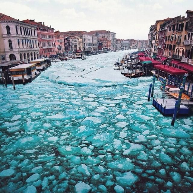 It's icy in Venice today but I love winter in Venice (http://www.venice-italy-veneto.com/winter-in-venice.html)