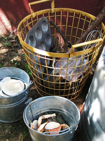 "ways to store loose parts outdoors -- from Jenny Kable's excellent blog ""let the children play"""