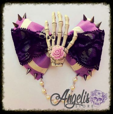 Gothic Skelly Hand Purple and Lace Spike Bow