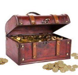 "Pirate Treasure Chest with 144 Coins by Decorative Gifts. $29.99. Approx. Dimension: 11"" x 7"" x 5.5"". Material: Wood and faux leather. Pirate chest, and 144 golden coins. Color: Cherry. Decorative Wood Pirate Trunk. Store your treasures in the realistic wooden Pirate Chest Included in the set are a pirate chest, and 144 golden coins, you will need to put stuffing under the coins to look like the chest is full.. Save 39% Off!"