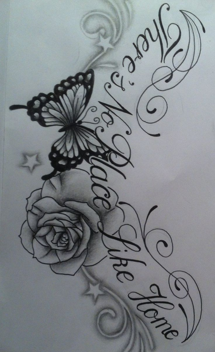 images of roses and butterfly  tattoos    Butterfly Rose chest tattoo design with text by ~tattoosuzette on ...I would leave off the words