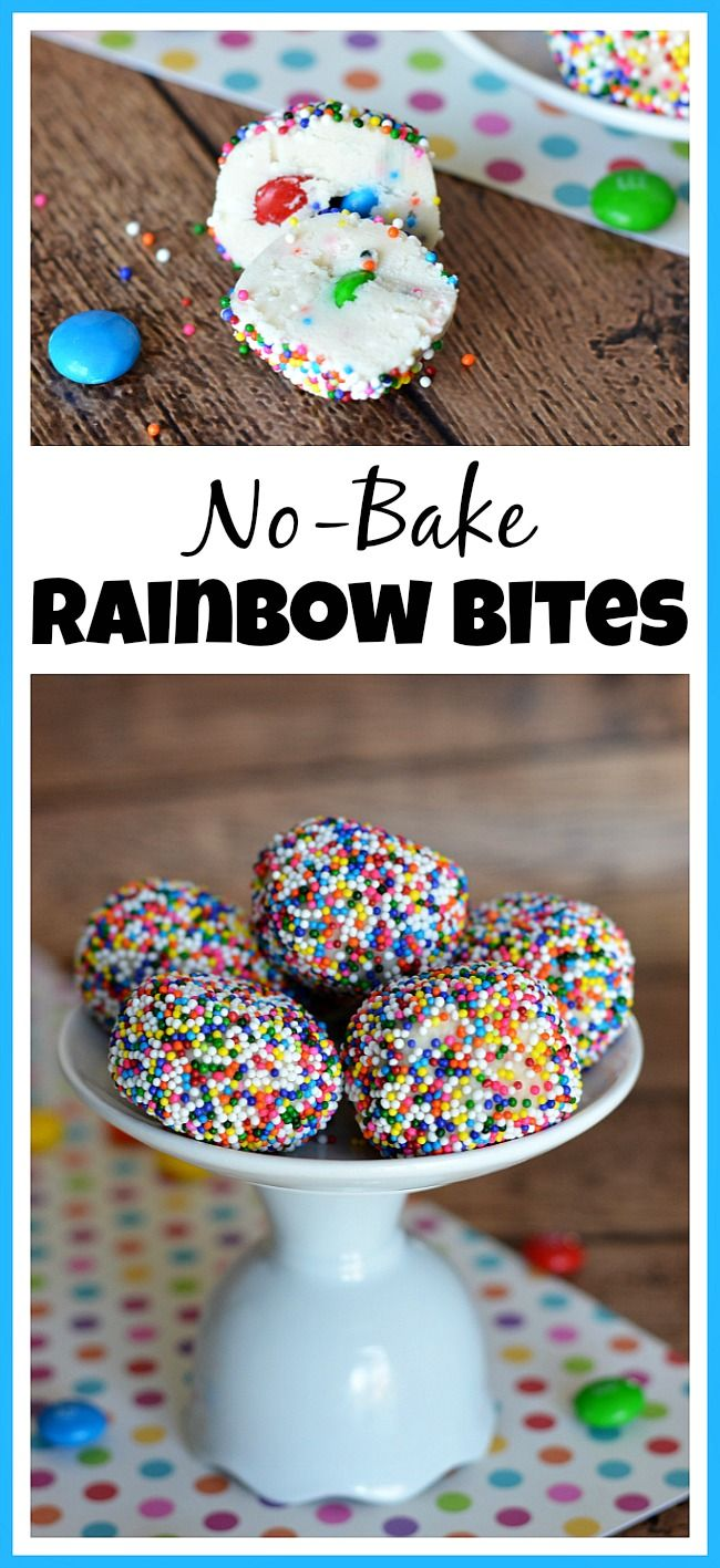 Need a quick no-bake dessert for a party or after-school snack? Try these yummy no-bake rainbow bites filled with M&Ms! | No-Bake Cake Batter Truffle