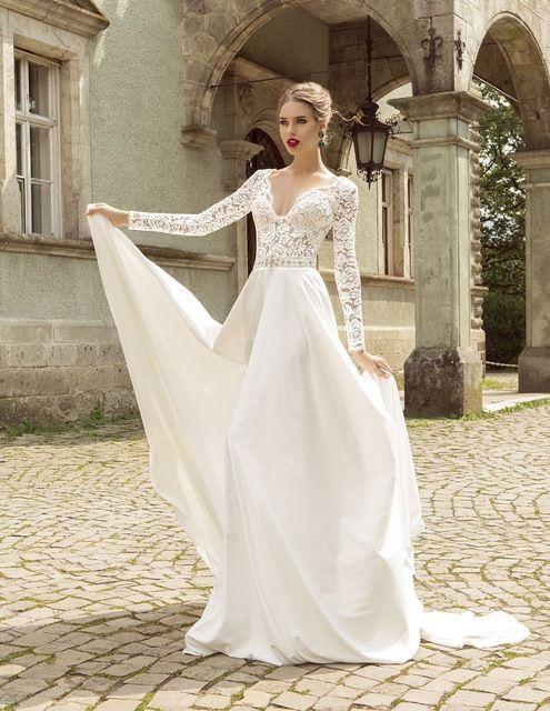 Style d\u0027été Dentelle À Manches Longues Robes De Mariée 2016 V Neck Une Ligne