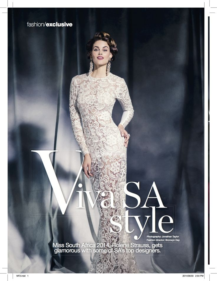 Miss SA Rolene Strauss wears The Beaded Brocade Dress by MARETHCOLLEEN in Glamour's July 2014 issue