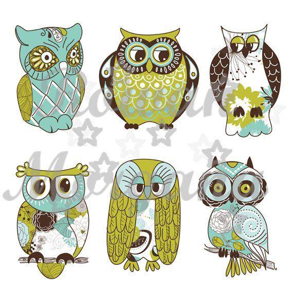 Vintage Owls Royalty Free Clip Art Jpg Png Digital Download Digital Collage Sheet Scrapbook Digit Owl Illustration Owl Cartoon Owl Clip Art
