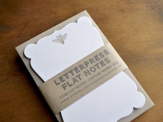 Vintage Honey Bee -  Letterpress Die Cut Note Cards