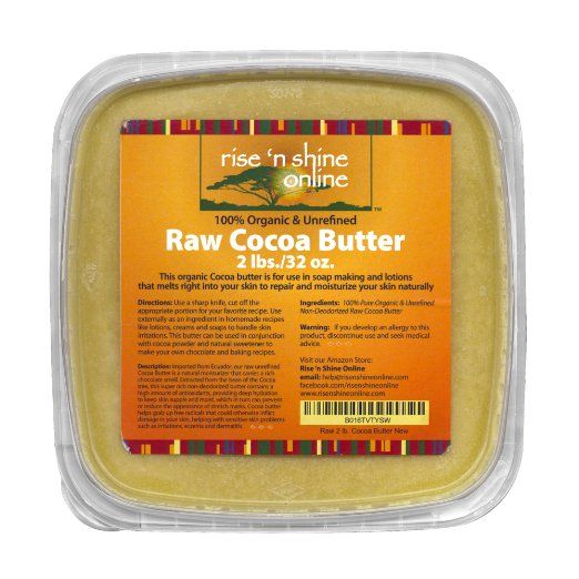 32 Oz Unrefined Bulk Organic Raw Cocoa Butter - FREE RECIPE EBOOK - Perfect for Your DIY Home Recipes Like Soap Making, Lotion, Shampoo, Lip Balm and Hand Cream - Helps with Stretch Marks and Scars