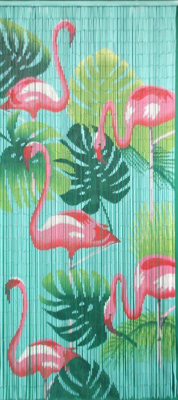 Kitsch Kitchen, Bamboo Vliegengordijn Flamingo.