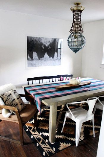 House Crashing: Textured & Tribal | Young House Love - dining table from an Ana White design and mismatched chairs