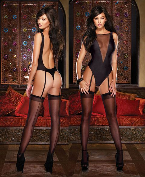 8630 Dreamgirl, Silky microfiber and fine stretch mesh teddy with deep V illusion detailing