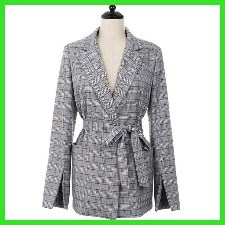 2017 New Autumn Women Gray Plaid Office Lady Blazer Fashion Bow Sashes Split Sleeve Jackets Elegant Work Blazers Feminino
