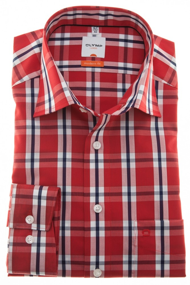 This is a nice red shirt Olymp. It is a striking shirt with a white diamond through.  This shirt costs now € 59,95.