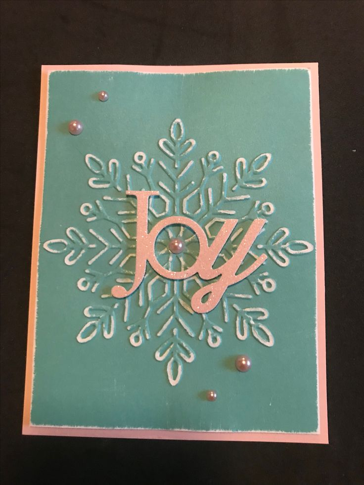 Bashful & Lagoon come together for this non-traditional Christmas color combo. The embossing folder is from SU! & the JOY die cut from Papertrey inc. Finished it off with Bashful pearls & a little sanding on the snowflake.