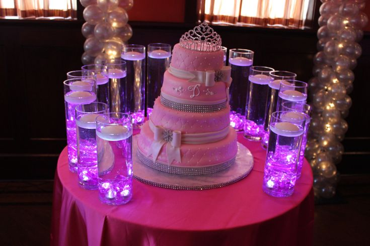 sweet sixteen candle display | Vases with Floating Candles & LED Lights for Sweet 16 Candle Lighting