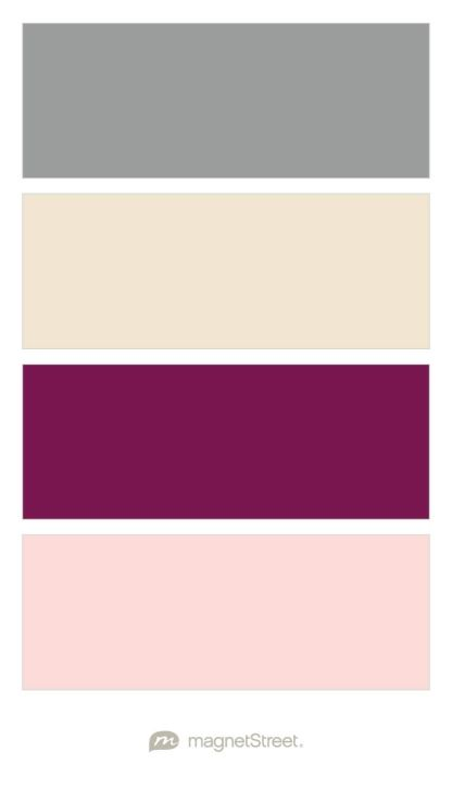 Classic Gray, Champagne, Sangria, and Teaberry Wedding Color Palette - custom color palette created at MagnetStreet.com