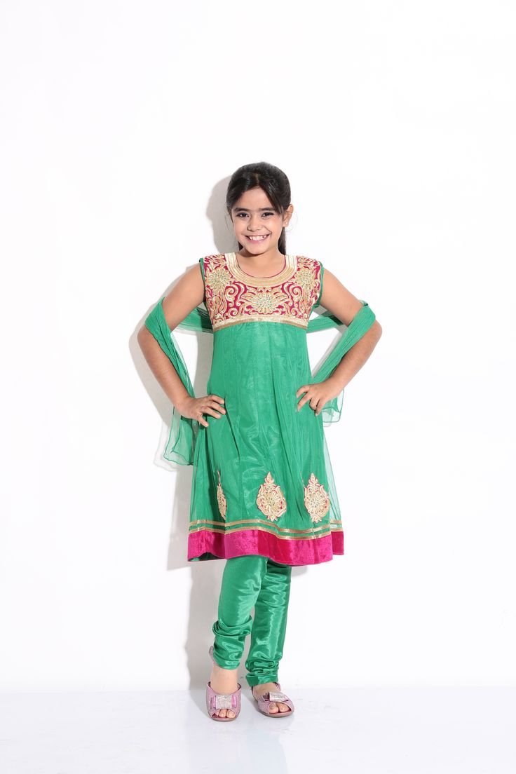 Buy Ashwini Girls Netted Embroidery Green Salwar for Girls from age 2-8 years at Singlekart.com/ Currently available for Customers in Bangalore. #singlekart RHClothing
