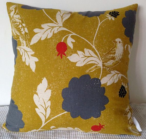NEW cushion cover - Japanese fabric in mustard yellow background with bird and floral motif ...