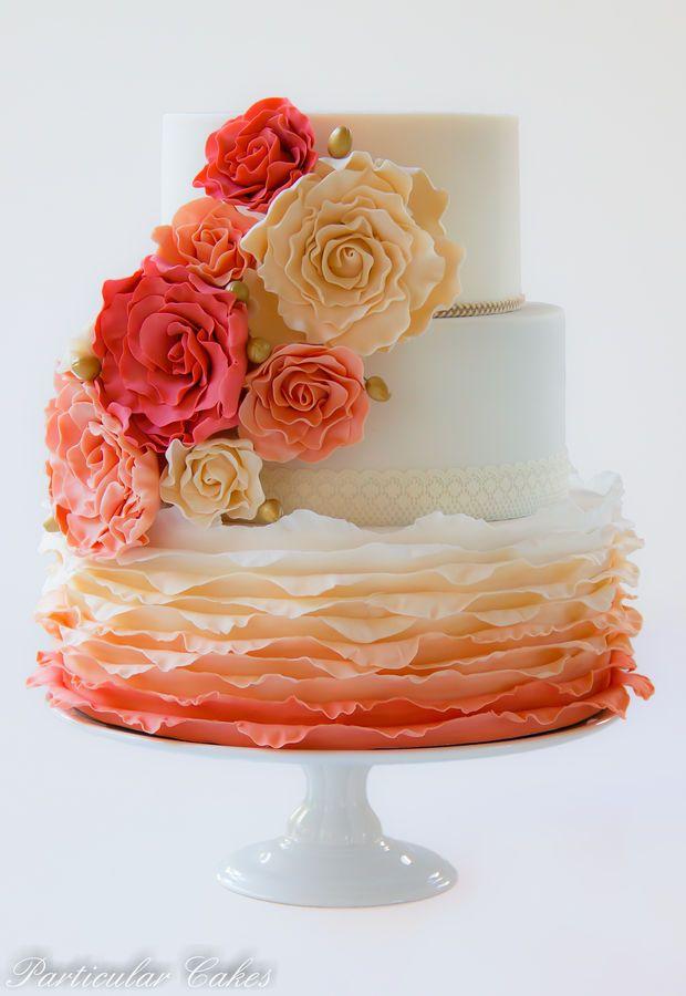 Ombre wedding cake Source: cake central #weddingcake