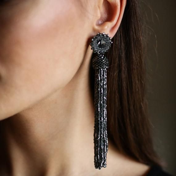 Black dress earrings Statement black earrings Sparkly black glass and sterling silver dress earrings make a statement