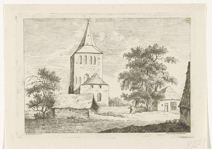 baron Reinierus Albertus Ludovicus van Isendoorn à Blois | Kerktoren, baron Reinierus Albertus Ludovicus van Isendoorn à Blois, 1828 | Kerk met een vierkante kerktoren. Aan weerszijden een boom en dorpshuizen.