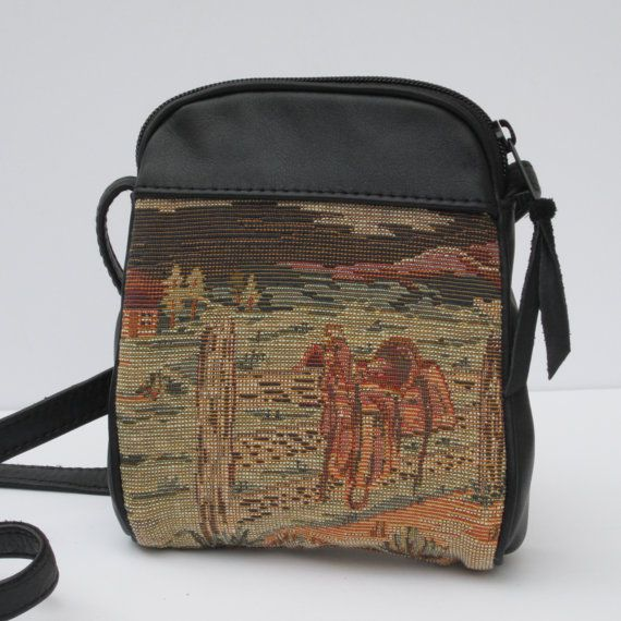 SMALL Fabric and Leather SHOULDER BAG Home On The Range