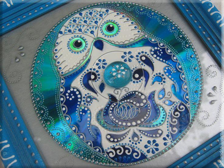Купить Совёнок Панно с витражной росписью на диске - Витражная роспись, витражное панно, витражная картина