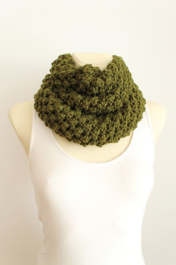 Chunky Circle Scarf - Knit Infinity Scarf - Green Circle Scarf - Knit Circle Scarf - Winter Circle Scarf - Knitted Circle Scarf Chunky Knit
