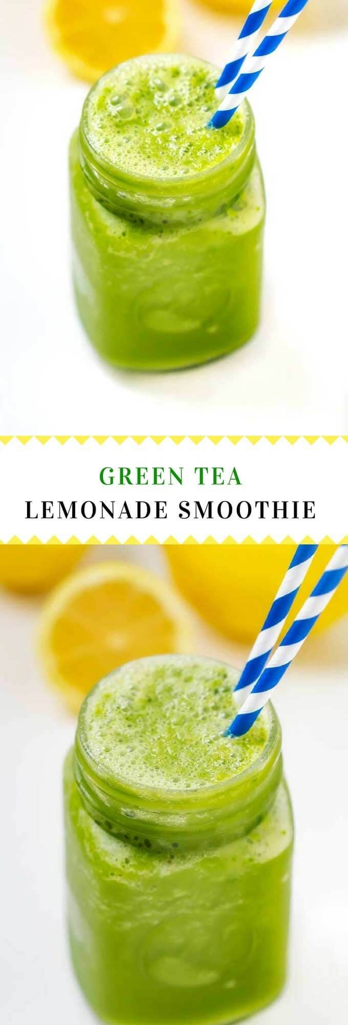 This Green Tea Lemonade Smoothie has a secret ingredient that will help improve your focus!  #ad #INVIAlife #smoothie #GreenSmoothies