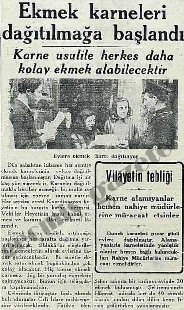 1942 EKMEK KARNESİ - 13/01/1942 Olay Türkiye'de ekmek karnesi uygulamasına başlandı.