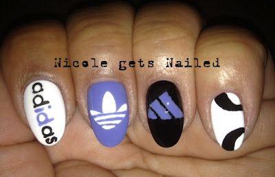 Adidas Nail Art freehand LOVE Adidas