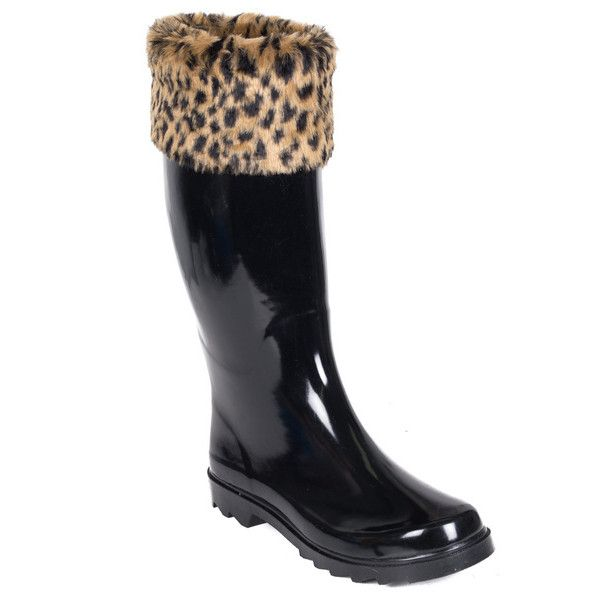 Women's Forever young fox-fur mock sock rainboots 6 IK ($30) ❤ liked on Polyvore featuring shoes, boots, black, boots & booties, forever young shoes, black shoes, rubber boots, forever young boots and black wellington boots