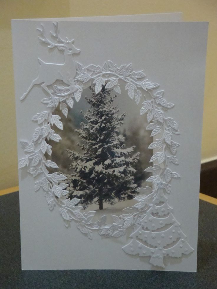 Christmas Photo Card with leaf frame, deer and die cut tree. White on White Card. White-on-White #WhiteOnWhite
