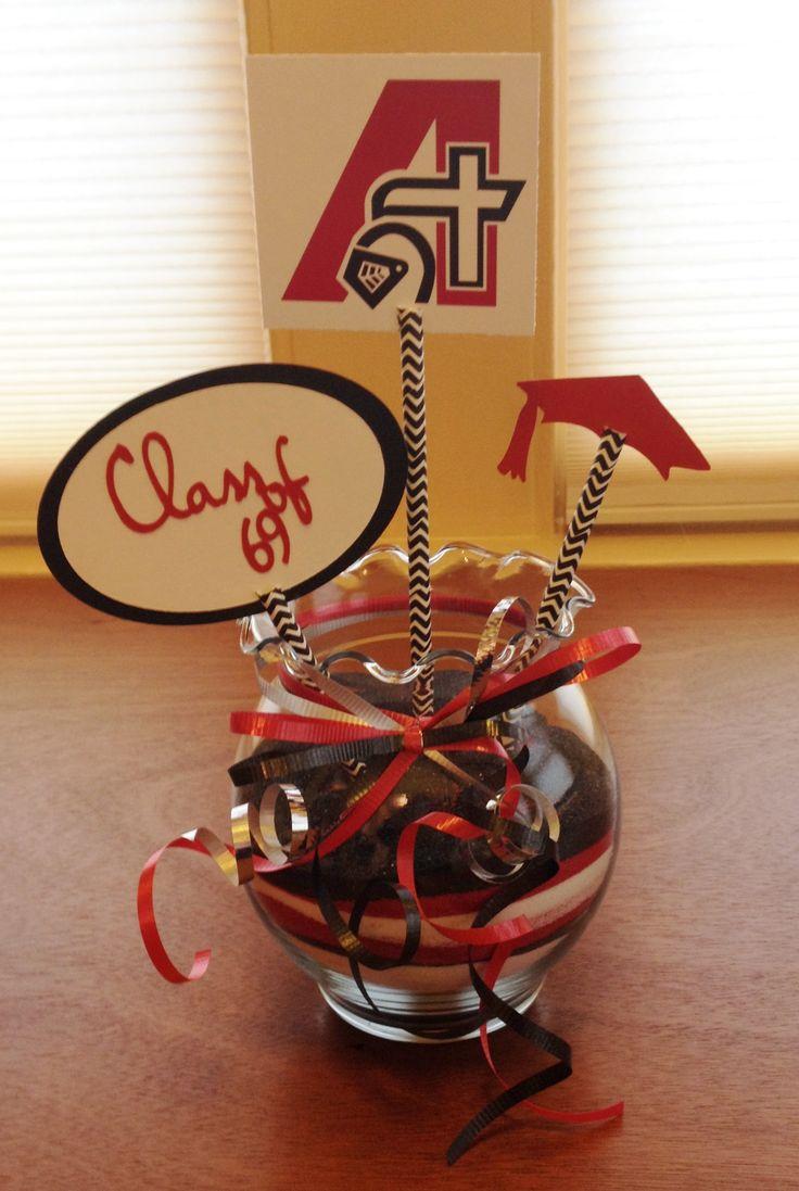 45th Class Reunion Table Decoration made with a Cricut.  Assumption High School, Davenport, IA