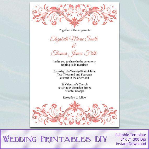 Coral Wedding Invitation Template, Diy Printable Bridal