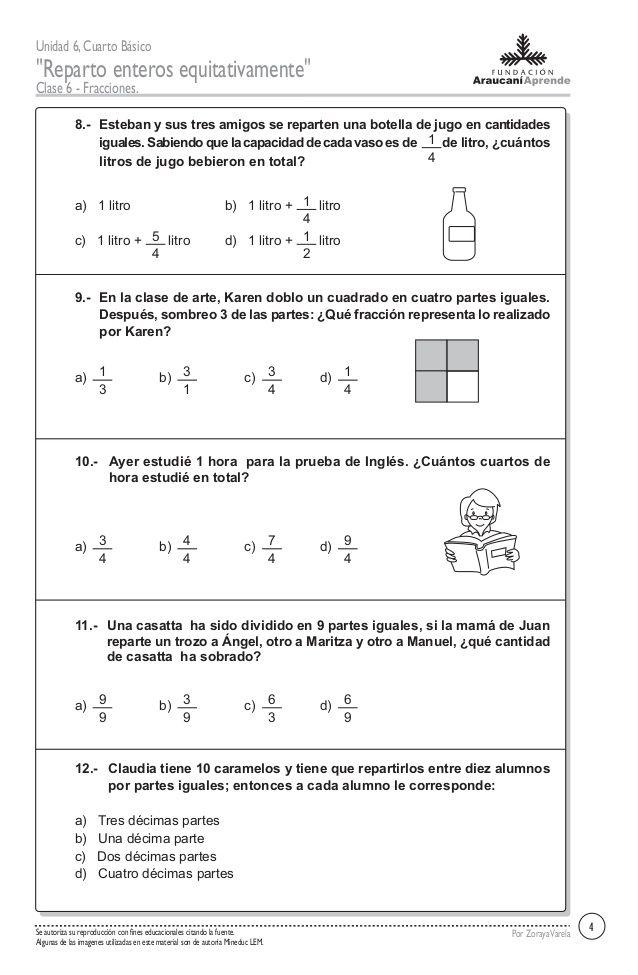 Unidad 6 Cuarto Básico Reparto Enteros Equitativamente Clase 6 Fracciones Por Zorayavarelase Au Fracciones Ejercicios De Fracciones Matematicas Fracciones