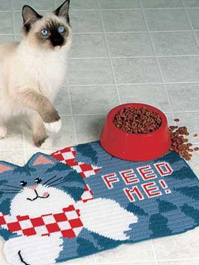 """Feed Me Place Mat - your puddy cat will feel like a king/queen - PLASTIC CANVAS - """"EASY"""""""