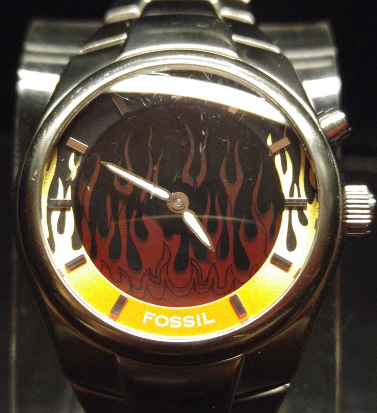 Fossil Big Tic Animated Flames Mens Watch Stainless Steel Water Resistant JR8215 $34.00 #Fossil #Watch #Flames