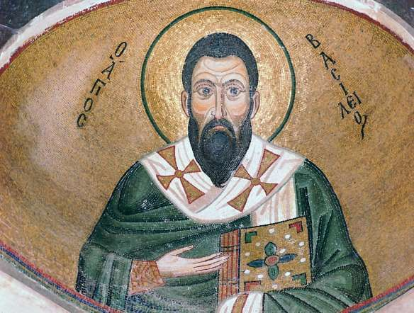 St. Basil - CM Dixon/Print Collector/Getty Images  GREECE In the East, Santa often means Basil of Caesarea, or St. Basil. He was a Christian bishop in Cappadocia in the former Asia Minor. On his feast day (Jan. 1), families and friends celebrate by serving Vasilopita cake, exchanging gifts and singing holiday songs.