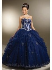 Satin Strapless Sweetheart Embroidered Bodice Quince Dress