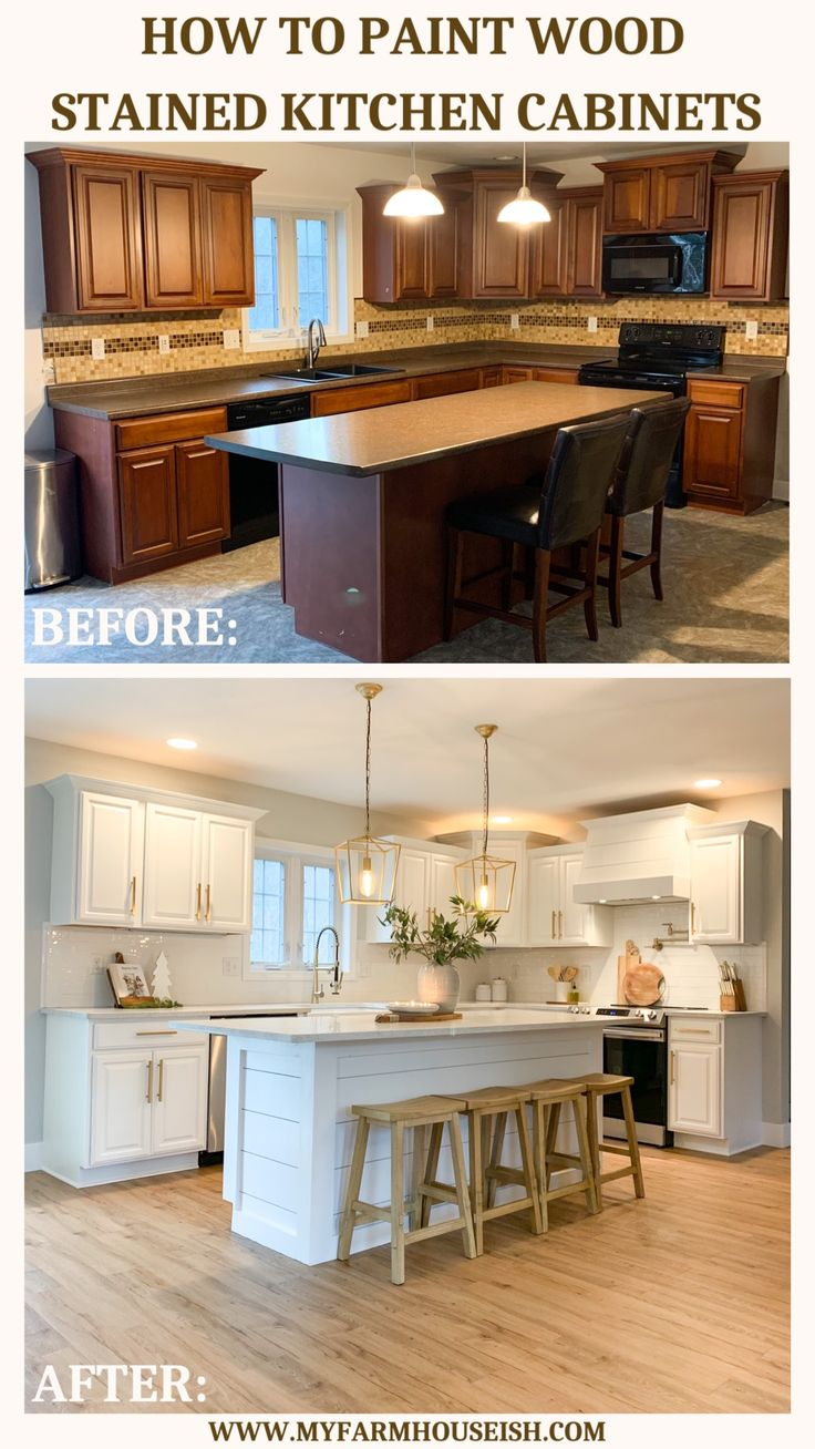 How To Paint Wood Stained Kitchen Cabinets My Farmhouse Ish Stained Kitchen Cabinets Diy Kitchen Renovation Kitchen Remodel Small