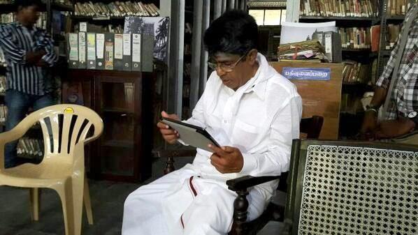 Actor - Director Sundararajan watching the Teaser of Sathuranga Vettai.
