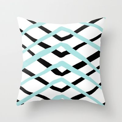 Pattern, turquoise and black Throw Pillow by Lindella - $20.00