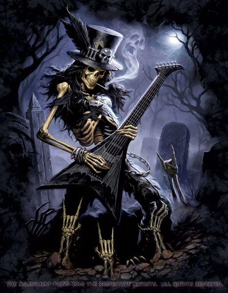 Gothic Fantasy Art   Play Dead Shirt - a Gothic Skeleton Rocks The Dead