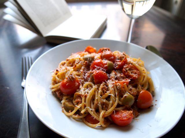 TOMATO, CHILI & TUNA SPAGHETTI Recipe Main Dishes with spaghetti, olive oil, garlic, cherry tomatoes, green olives, tuna, lemon, chili flakes, sea salt, parmesan cheese