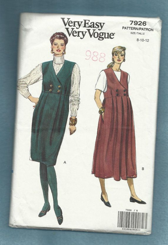 Vogue 7926 features a tailored maternity jumper with double breast button detail on the bodice, front pleated skirt and gathered in the back, straight or full skirt with side seam pockets.    circa 1990    Size....8......10  Bust 31.5...32.5    CUT ON SIZE 10/ COMPLETE  ENVELOPE CONDITION good/rubber stamp mark on the front/wrinkled corners