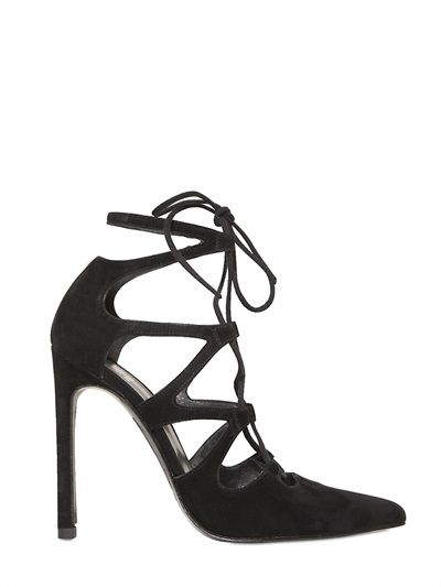 STUART WEITZMAN - 110MM EXCITE SUEDE LACE-UP PUMPS - LUISAVIAROMA - LUXURY SHOPPING WORLDWIDE SHIPPING - FLORENCE