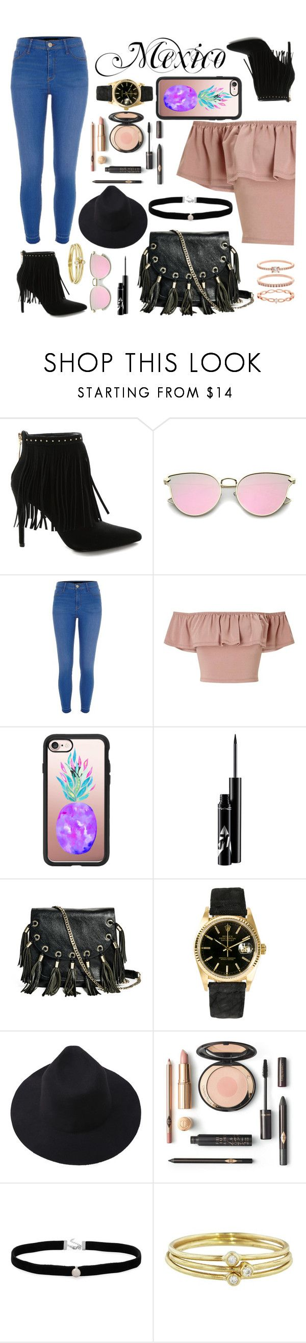 """""""Mexico City, Mexico"""" by lowlifegirl ❤ liked on Polyvore featuring Pierre Balmain, River Island, Miss Selfridge, Casetify, GUESS by Marciano, Rolex, Amanda Rose Collection, Jennifer Meyer Jewelry and Accessorize"""
