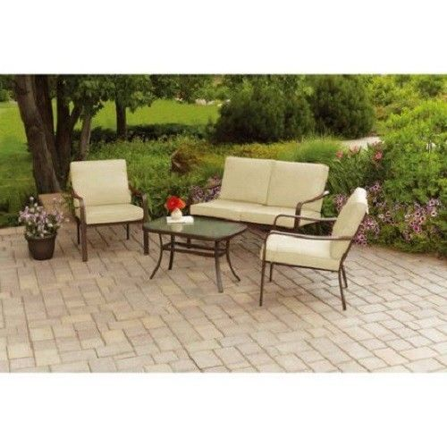 Outdoor Patio Conversation Set Tan 4 Piece Loveseat Sofa Chairs Table Cushions #Mainstays