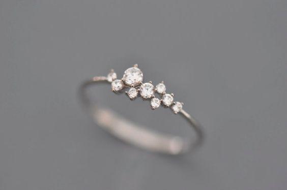 14 k oro blanco delgado delicado táctica incrustación de circón anillo — — ramo pequeño   anillo oro   anillo pequeño   anillo de diamantes diminutos   anillo del humor