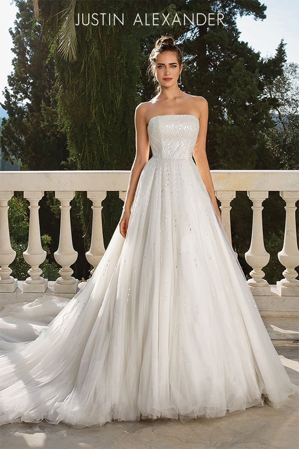 Style 88070 Strapless Beaded Tulle Ball Gown With Chapel Length Train Justin Alexander Tulle Ball Gown Dream Wedding Dresses Justin Alexander Wedding Dress